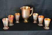 Vintage/retro Jeannette Marigold Crackle Glass Soda Tumblers Set With Pitcher