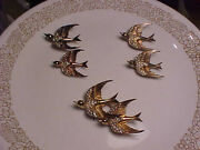 Vintage Coro Craft Sterling Silver Heavenly Swallows Bird Duette Pin And Clips