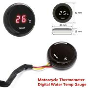 Motorcycle Thermometer Water Temp Temperature Digital Red Led Round Gauge Meter