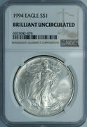 10 1994 American Silver Eagle Dollars / Ngc Bu / Certified And Authenticated