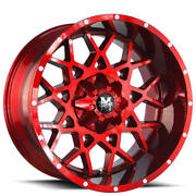 4 22 Off Road Monster Wheels M14 Candy Apple Red Rims B44