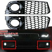 Front Fog Light Mesh Grille Honeycomb Grill Cover For Audi A4 B8 08-12 Rs4 Style