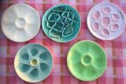 5 Ant French Pink And Green Majolica Oyster Plate Pornic Digoin Niderviller Salins