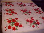 Vtg Wilendur Tablecloth + 6 Napkins W/ Red Rose Bouquets