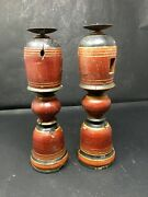 Antique Old 2 Wooden Hand Carved Bed Leg Feet Brackets Panel Candle Stand