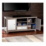 Mirrored Entertainment Tv Console Stand Cabinet Crystal Knobs Silver Painted