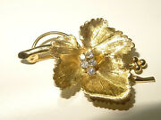 Vintage And Co. 18k Solid Gold Grape Leaf Pin W 0.15 Cttw Diamonds