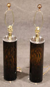 Mid-century Modern Lucite And Faux Tortoiseshell Italian-made Glass Table Lamps