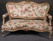 Painted Floral French Rococo Carved Settee Canape Sofa Circa 1890s