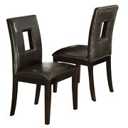 Set Of 2 Upholstered High Back Dining Side Chair Stool Dark Brown Faux Leather