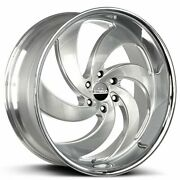 4 24 Strada Wheels Retro 6 Silver W Brushed Face And Ss Lip Rims Fit Escalade