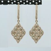 Dangling Earrings 14k Rose Gold And Diamonds Brilliant Stylish Holiday Gift