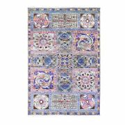 6and0391x9and039 Sari Silk With Text Wool Arts And Crafts Block Design Handmade Rug G59480