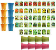 Set Of 43 Assorted Vegetable And Herb Seeds And 16 Bamboo Pots - Usa Seeds