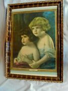 R. Atkinson Fox Two Young Girls Pals Large Framed Calendar Print 1920s
