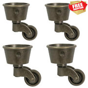 Real Brass Round Cup Swivel Casters For Furniture Chairs Antique Heavy Duty