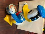 1957 Vintage Wind Up Toy Donald Duck Disney Works Drummer Plastic Character