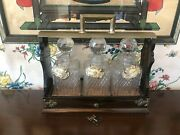 Antique Tantalus With 3 Decanters Silver Tags And Original Key