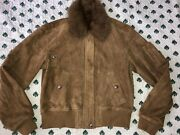 4598 Purple Label Rrl Coll. Leather Aviator Shearling Jacket 4 S M