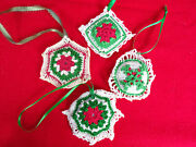 4 Vintage Hand Made Crocheted Christmas Ornaments Poly Batting Ribbon Hangers
