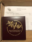 2020 End Of World War Ii 2 Ww2 75th Anniversary 24 K Gold Coin 1/2oz Low Mintage
