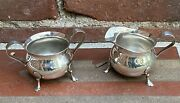Sterling Silver 925 Footed Sugar And Creamer Vintage B And M Baldwin Miller Euc