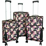 Betty Boop 3pcs Set Canvas Luggage 4 Pairs Rolling Spinning Wheels Black Pink