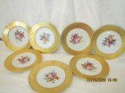 13 Limoges And Union T Gold Encrusted Floral Dinner 10 3/4in. Plates All Match