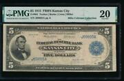 Ac Fr 801 1915 5 Frbn Kansas City Pmg 20 Rare Note, Only 15 Examples Known