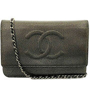 Chain Wallet Silver A48654 Coco Mark Bag Purse Shoulder Leather 18s Ladie