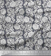 Soimoi Velvet Fabric Leaves And Floral Block Fabric Prints By Metre-1ln
