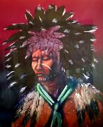 Raymond Nordwall Painting Native American Chief Signed Framed Original Vintage