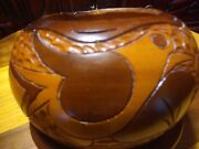Wooden Folk Hand Turned Bowl With Carved Bird Flower Leaves And Designs Great
