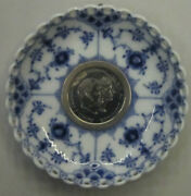 Royal Copenhagen Blue Fluted Full Lace Candle Drip Cup Coin King Frederik 1960