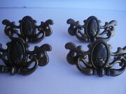 4 Vtg Furniture Drawer Pulls Bail Chippendale Thistle Batwing Canada Cp-1988
