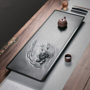 Boutique Tea Tray Hand Carved Lotus Flower Fish Relief Black Stone Serving Tray