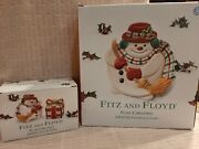Fitz And Floyd Plaid Snowman Canape Plate, Salt And Pepper- In Box