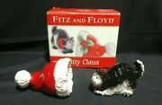 Fitz And Floyd Kitty Claus Christmas Salt And Pepper Set Cat And Hat - Nib - Rare