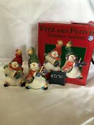 Htf Fitz And Floyd Snowman Jamboree Salt And Pepper Shakers - New In Box