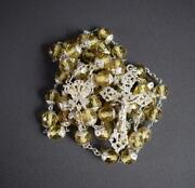 Antique French Yellow Crystal And Sterling Silver Rosary