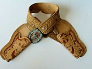 Vintage Fancy Tooled Cbs Toys Two Toned Dura Hyde Double Holster