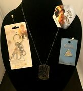 Harry Potter Deathly Hallows Lot 3 Pc Lapel Pin Dog Tag Necklace Keychain +charm