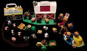 Vtg Fisher Price Little People Play Family Yellow House Barn Farm Animal Big Lot