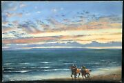 1990s Oil Painting Of Horse Riders On Beach At Sunset By David Anthony Denyer