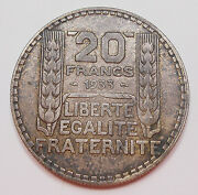 France 1933 Silver 20 Francs Xf+ Classic Liberty Laureate Head Large French Coin