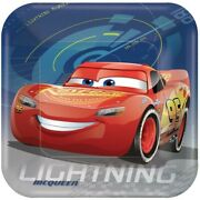 Disney Cars 3 Paper Square Plates 923cm Pack Of 8 Birthday Party Supplies