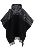 New Moncler Basic Hooded Bi-material Cape 3g505 00 A0107 Nero Authentic Nwt