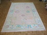 10and0394 X 14 Hand Knotted Pink Modern Oushak Oriental Rug G10060