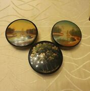 3x Metal Tin Cans Russia Ussr Soviet Union - Hand Painted - Vintage
