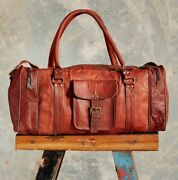 25 Mens Brown Vintage Genuine Travel Luggage Duffle Gym Bags Tote Goat Leather